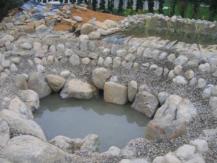 Construction of the big pond for Garden pond gravel