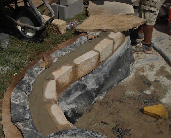 Building the waterfall pond for Building a liner pond